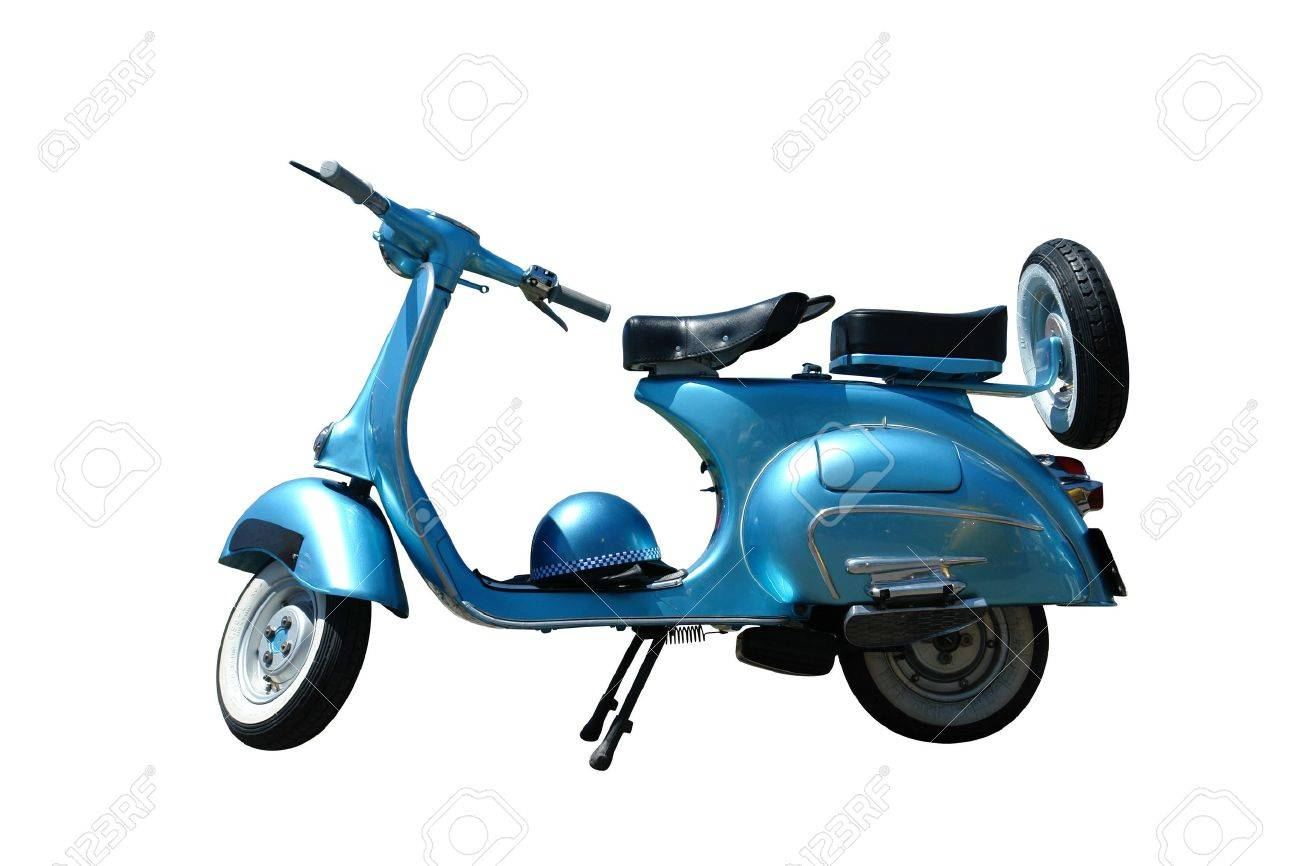 Vintage blue vespa scooter. Vector path is included on file. Stock Photo - 3148874