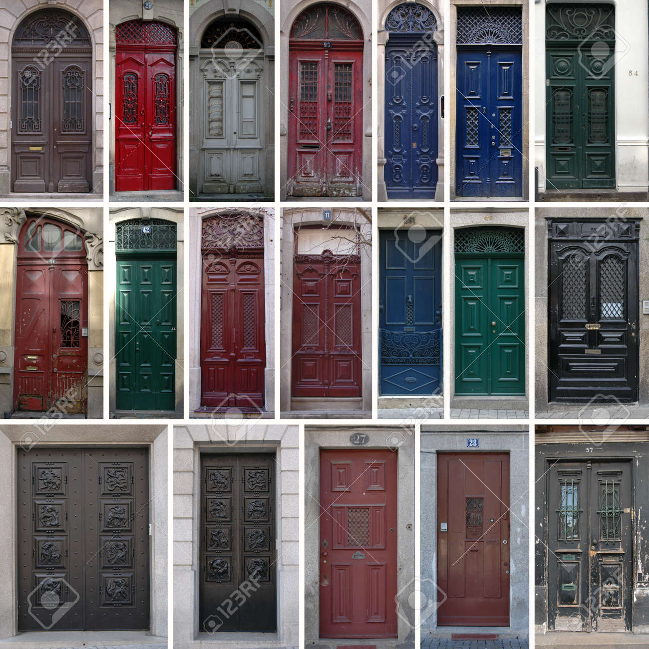 Set of 19 old doors of the city of Porto Portugal. Stock Photo - & Set Of 19 Old Doors Of The City Of Porto Portugal. Stock Photo ... pezcame.com