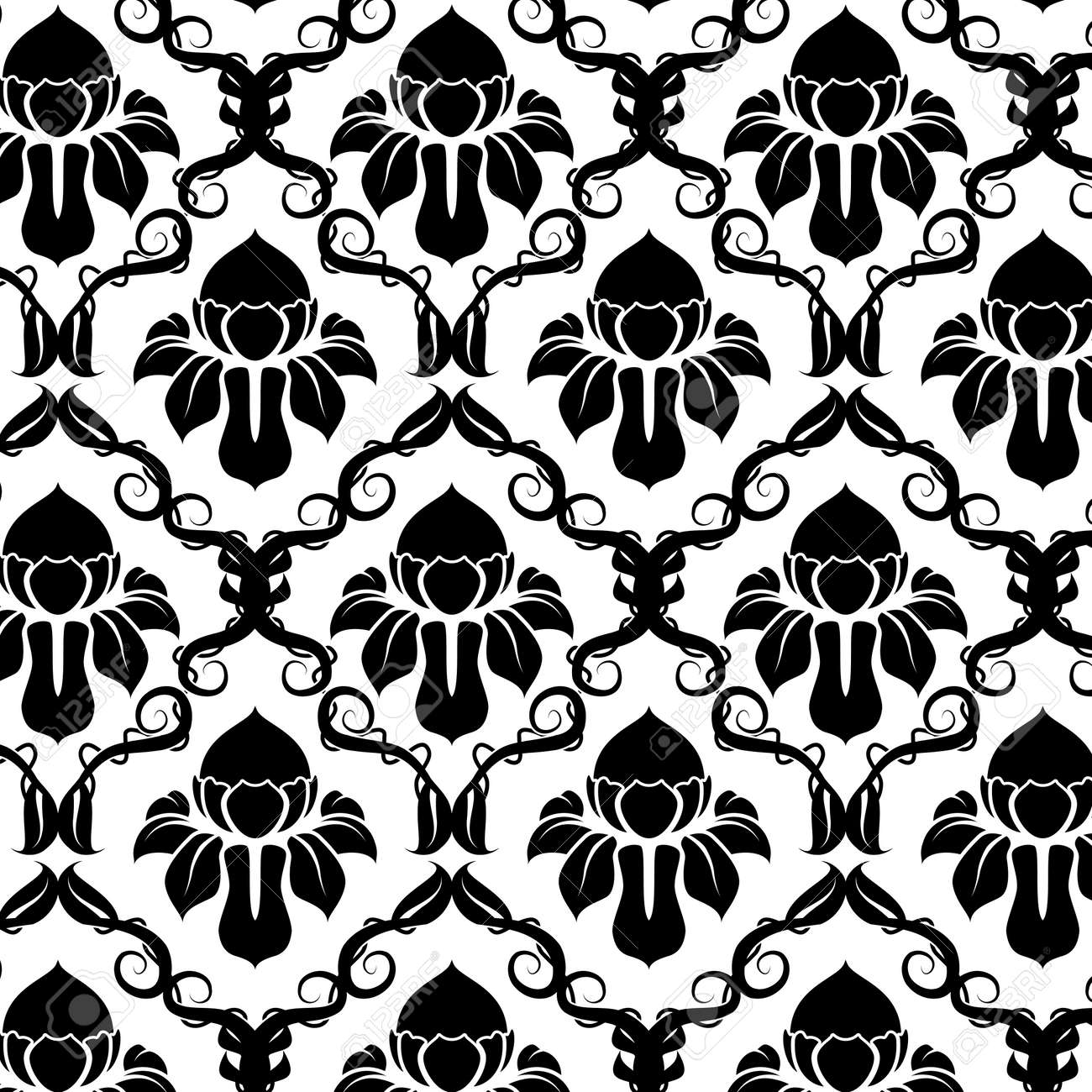 Illustration of a black and white vintage floral pattern Stock Vector - 5387725