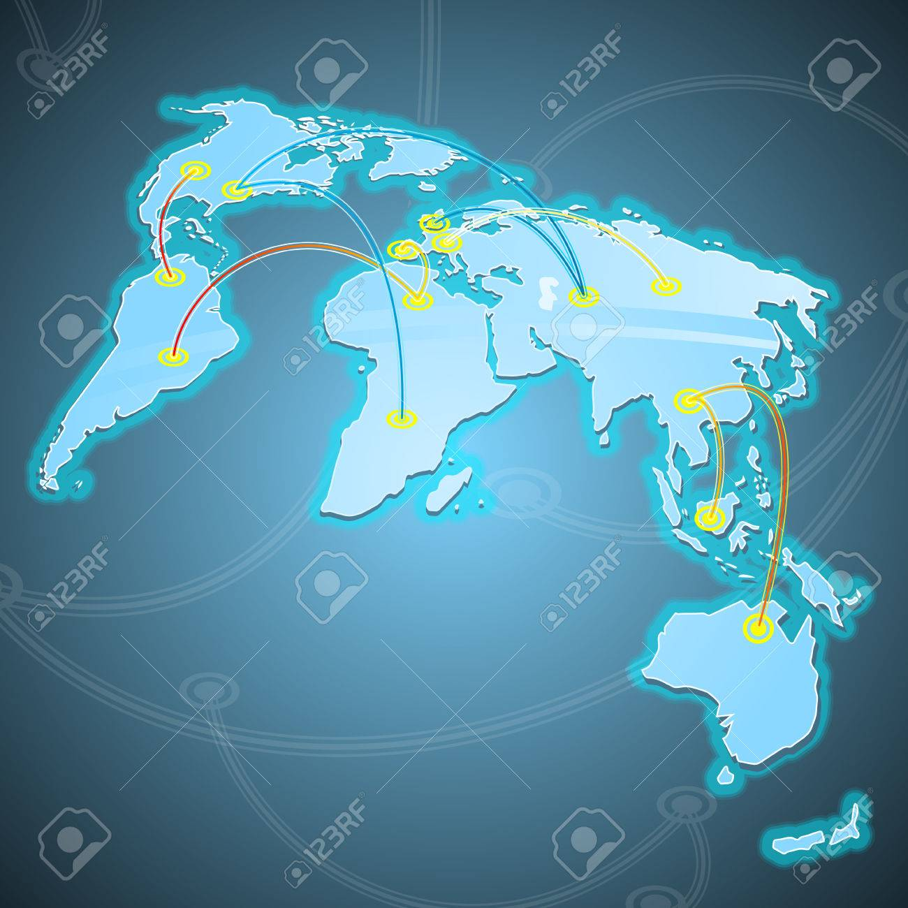 Illustration of some world trades routes. Stock Vector - 5518513