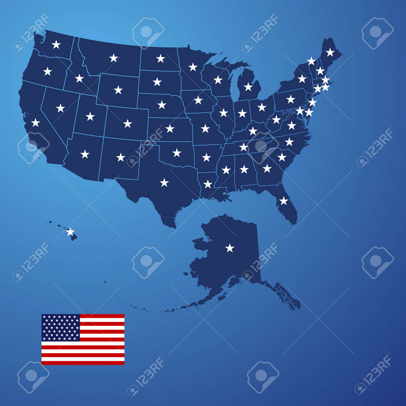 US Map Stars Vector Royalty Free Cliparts Vectors And Stock - Stars map from us