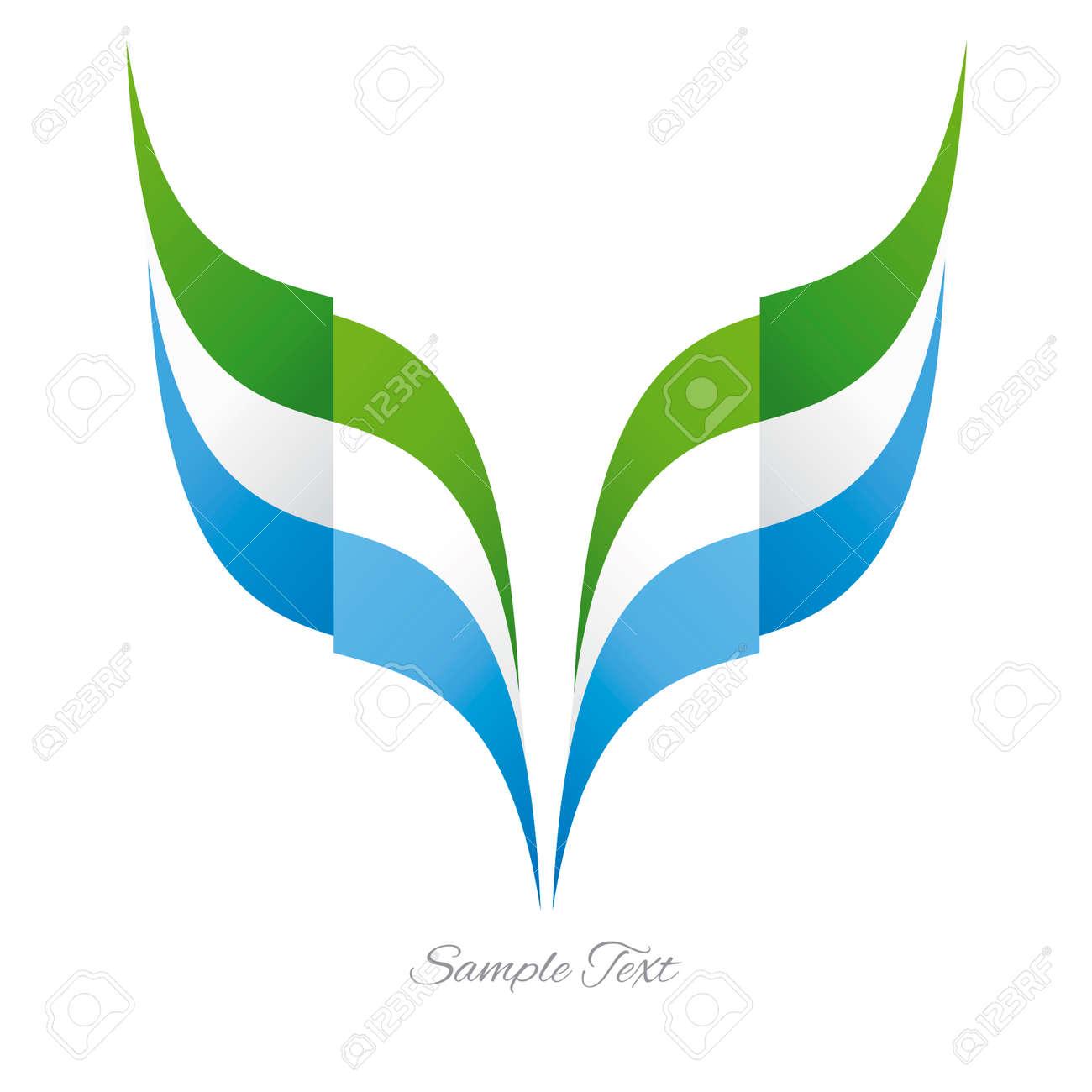 Abstract Sierra Leone eagle flag ribbon logo white background - 55160121