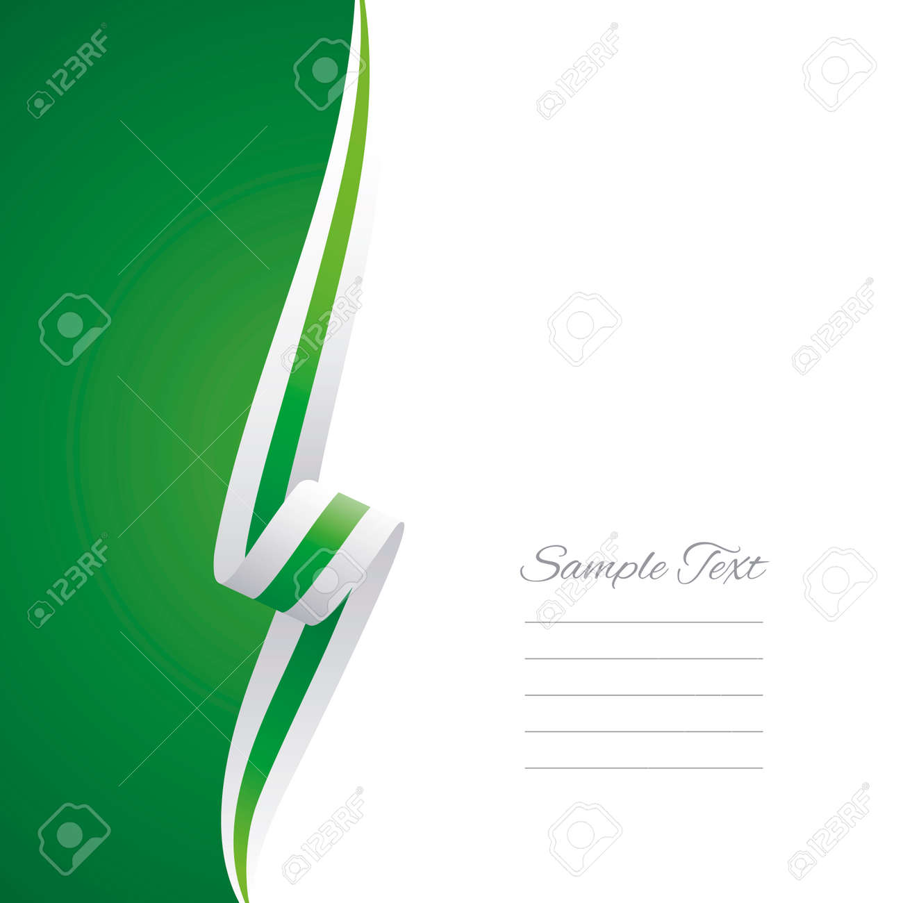 Abstract white green ribbon left side brochure vector - 63529008