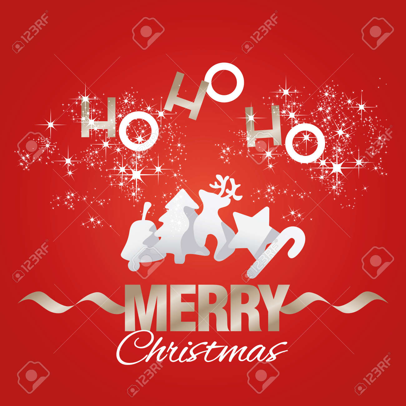 Ho-ho-ho Merry Christmas Elements Red Vector Royalty Free Cliparts ...
