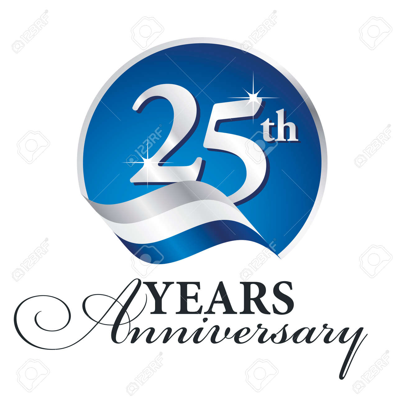 anniversary 25 th years celebrating logo silver white blue ribbon rh 123rf com 25th anniversary logo vector 25th anniversary logo vector
