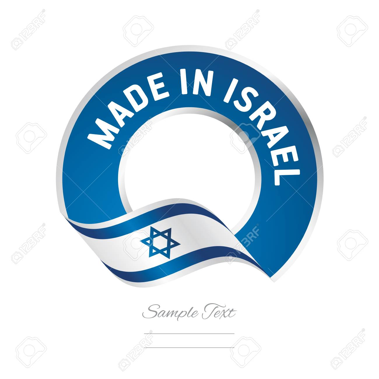 Made in Israel flag blue color label logo icon - 72371567