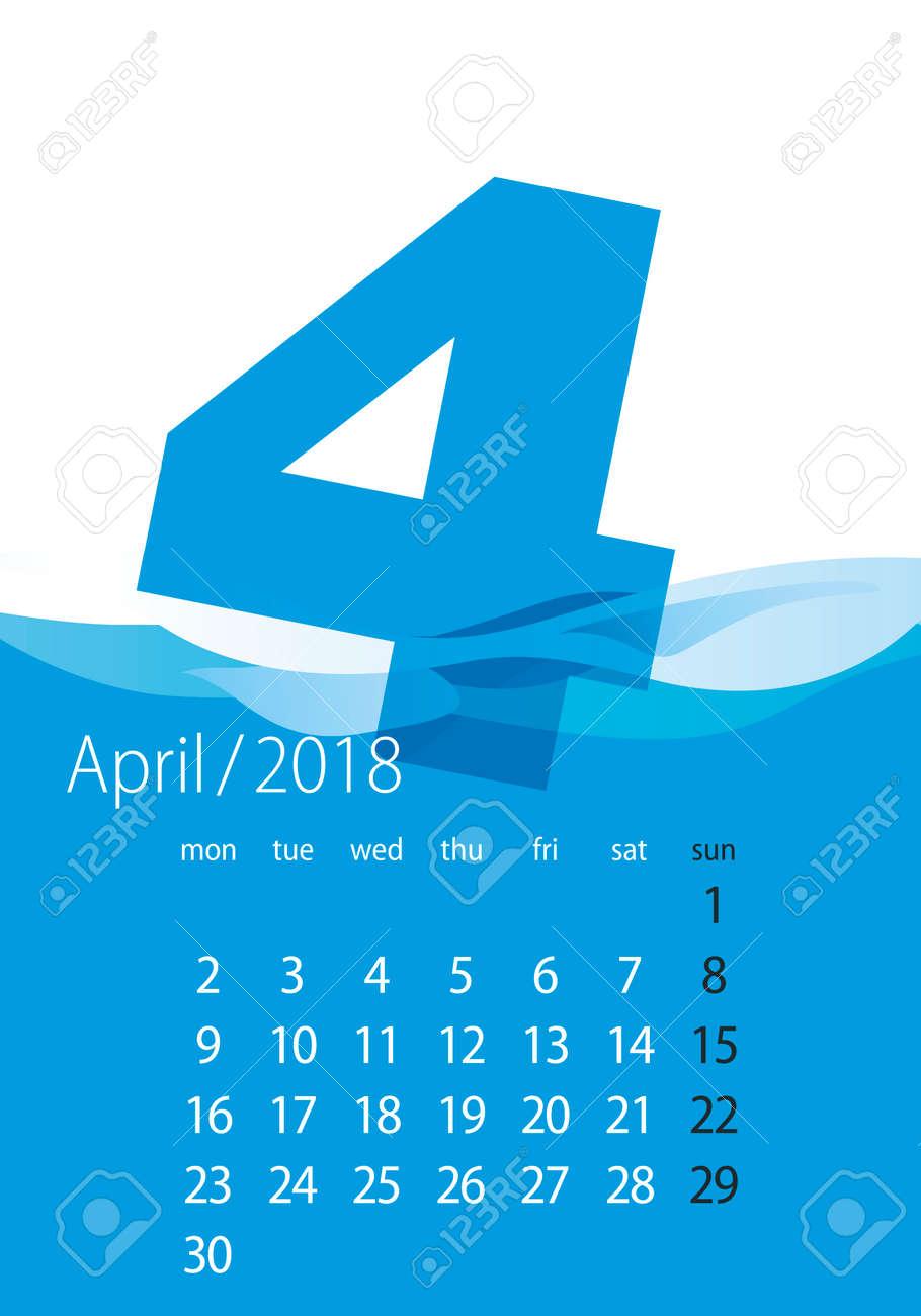2018 Calendar Month April Water Blue Royalty Free Cliparts Vectors