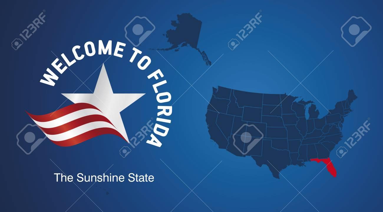 Florida Usa Map.Welcome To Florida Usa Map Banner Logo Icon Royalty Free Cliparts