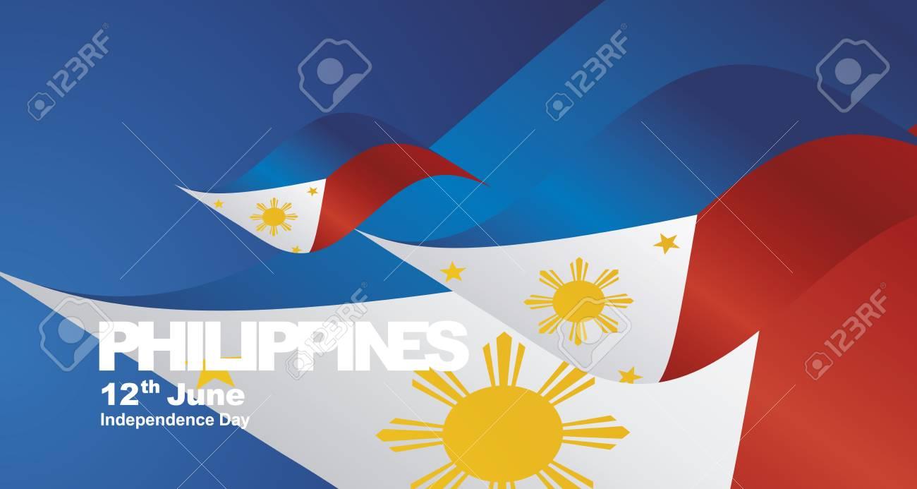 Philippines Independence Day flag ribbon landscape background - 108545392