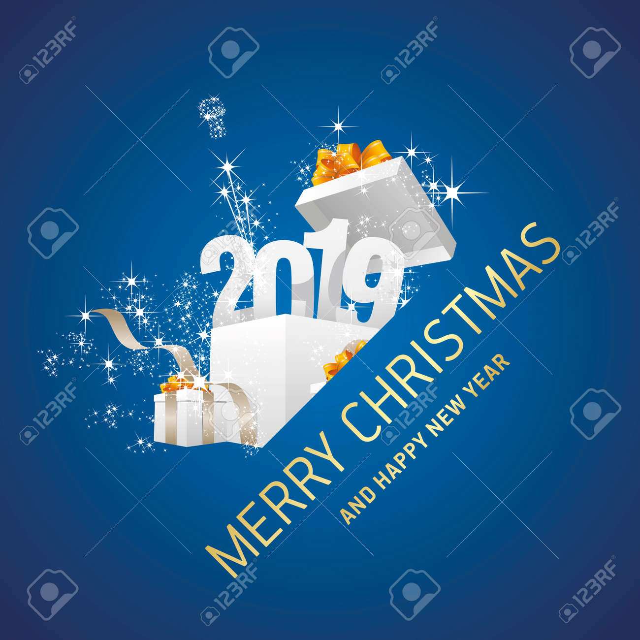 merry christmas and happy new year 2019 gift box firework blue greeting card stock vector