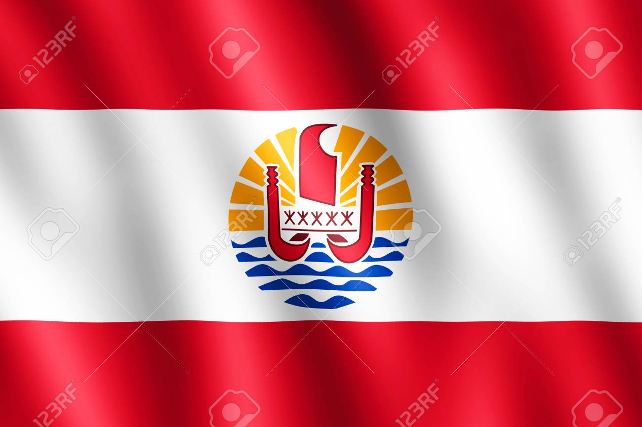 Flag of French Polynesia waving in the wind giving an undulating