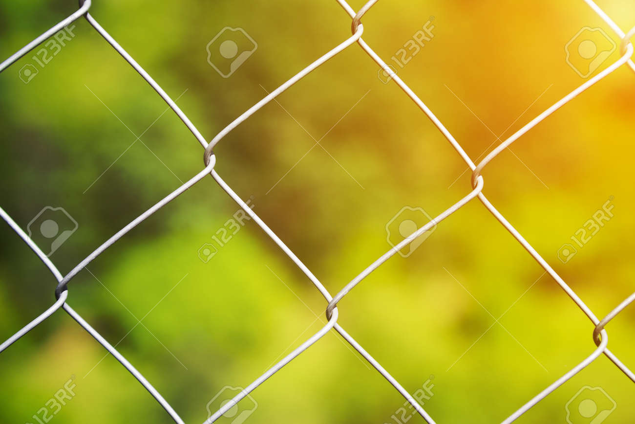 Detail Of A Diamond Mesh Wire Fence With Selective Focus To The ...