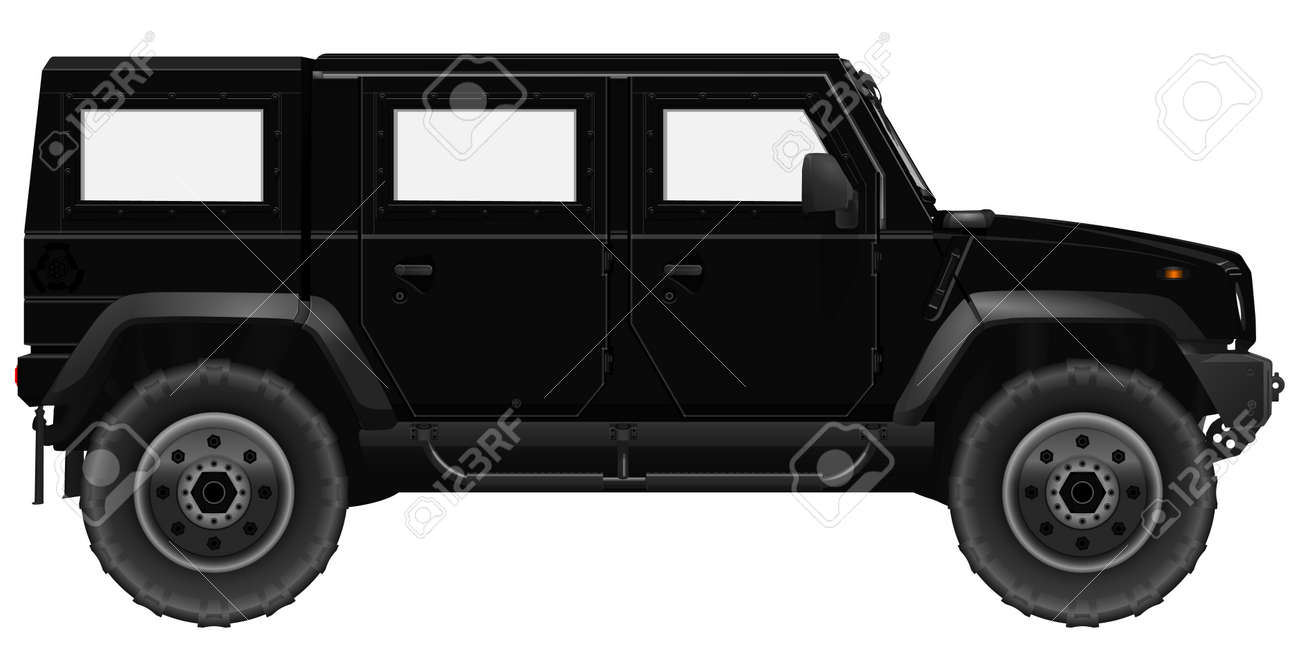 Black Suv Car Vector Armored Vehicle Isolated On A White