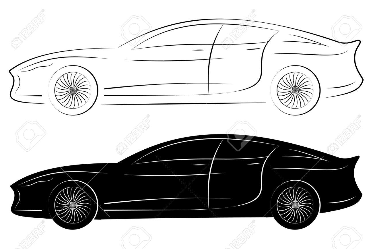 Concept Vehicle Silhouette Vector Car Outlines Isolated On White