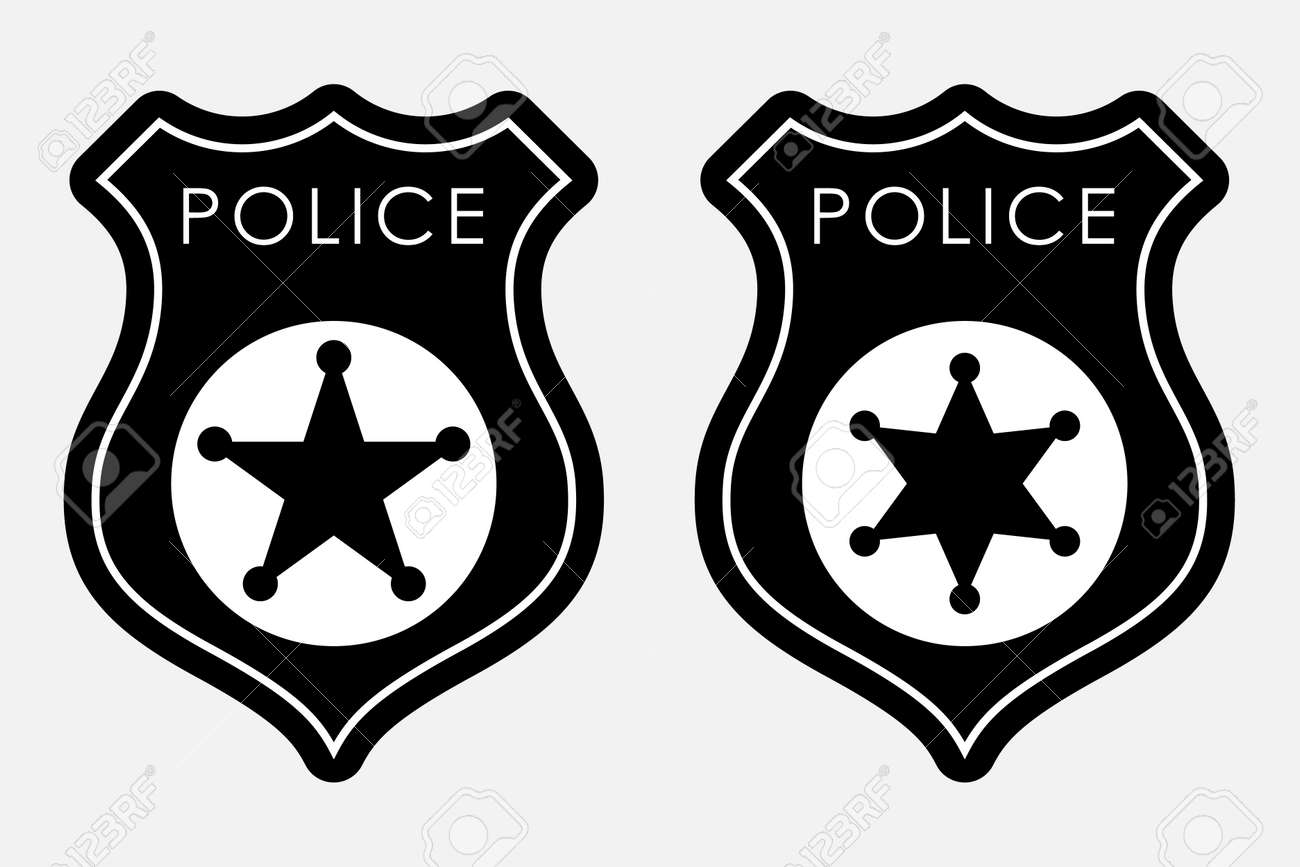 Police Badge Simple Monochrome Sign Vector Illustration Isolated