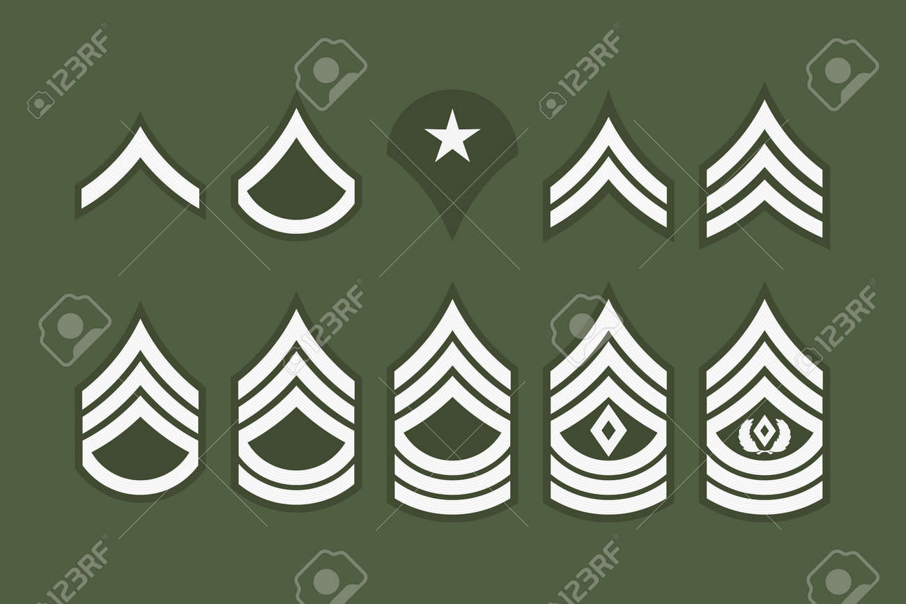 Military Ranks Stripes and Chevrons. Vector Set Army Insignia. Sergeant's Staff - 87271325