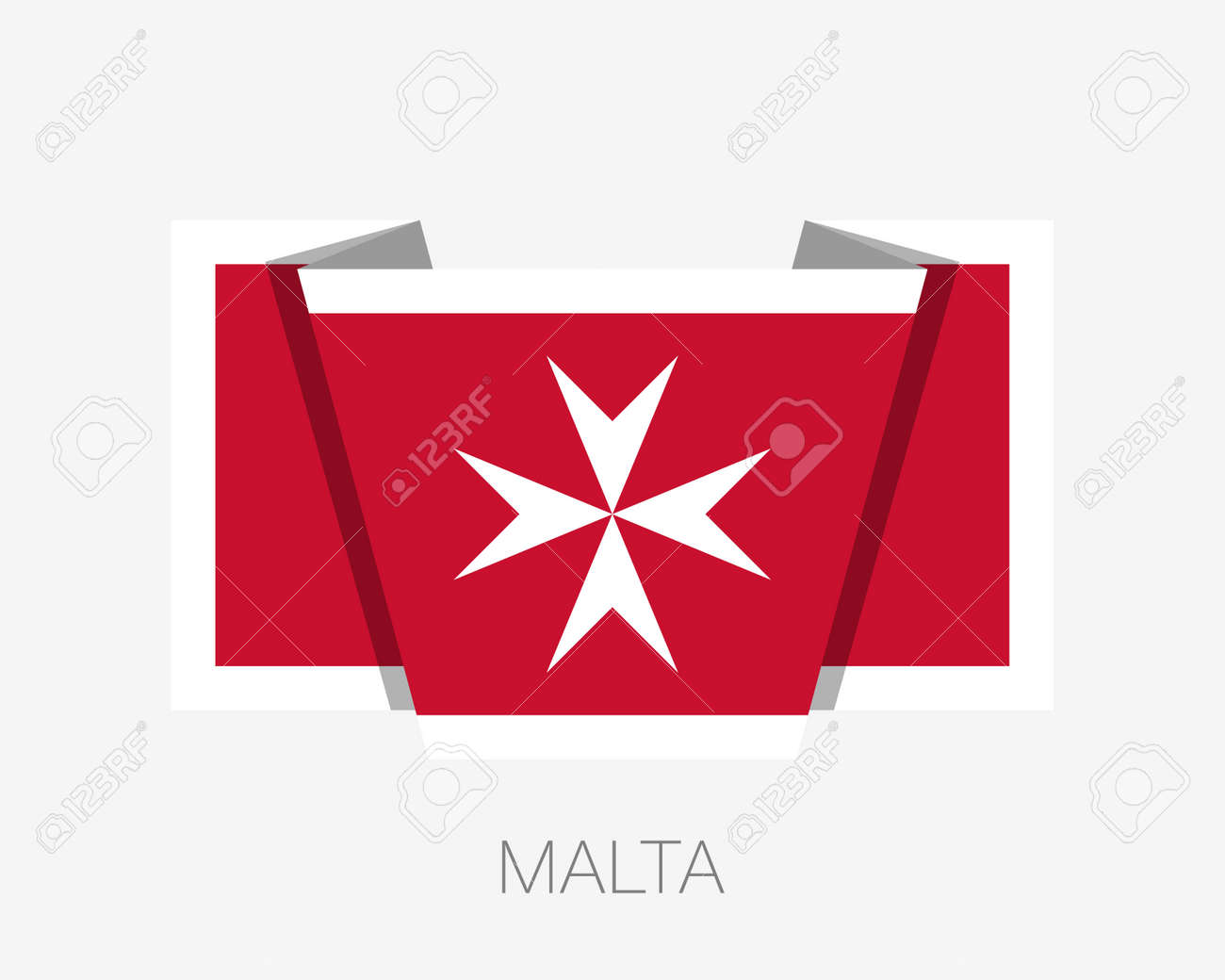 Flag Of Malta Version With Maltese Cross Flat Icon Waving Flag