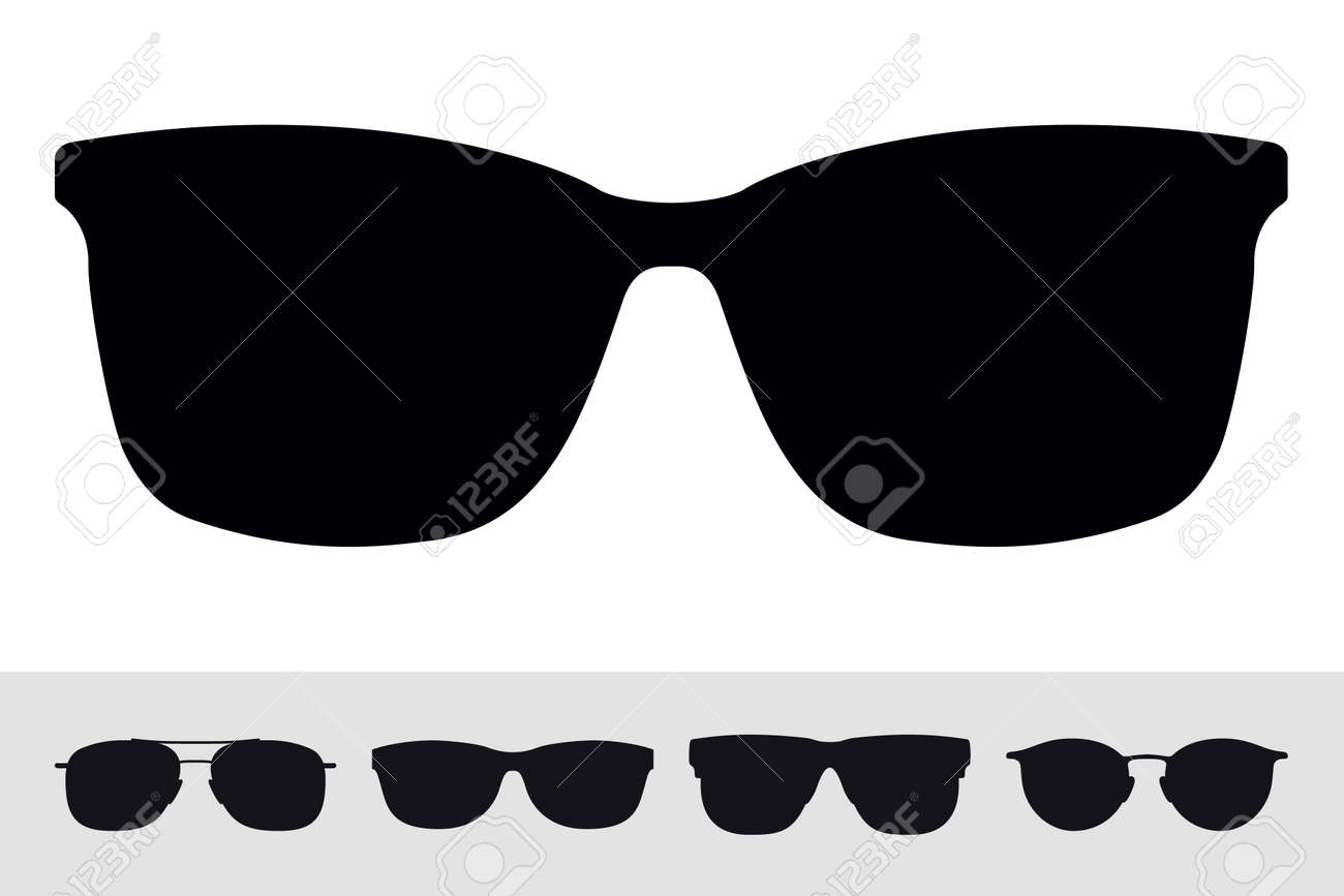 Sunglasses Sign Icon Symbol. Vector Isolated Silhouette on White Background. Vector Set. Graphic Design Element - 108212816