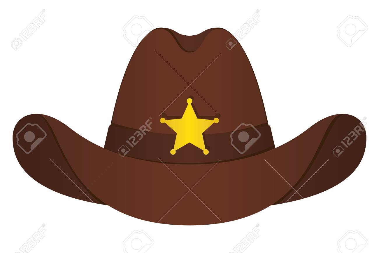 e20390bb737e4 Brown Sheriff Hat Icon. Vector Isolated Object. Front View. Symbol of Wild  West