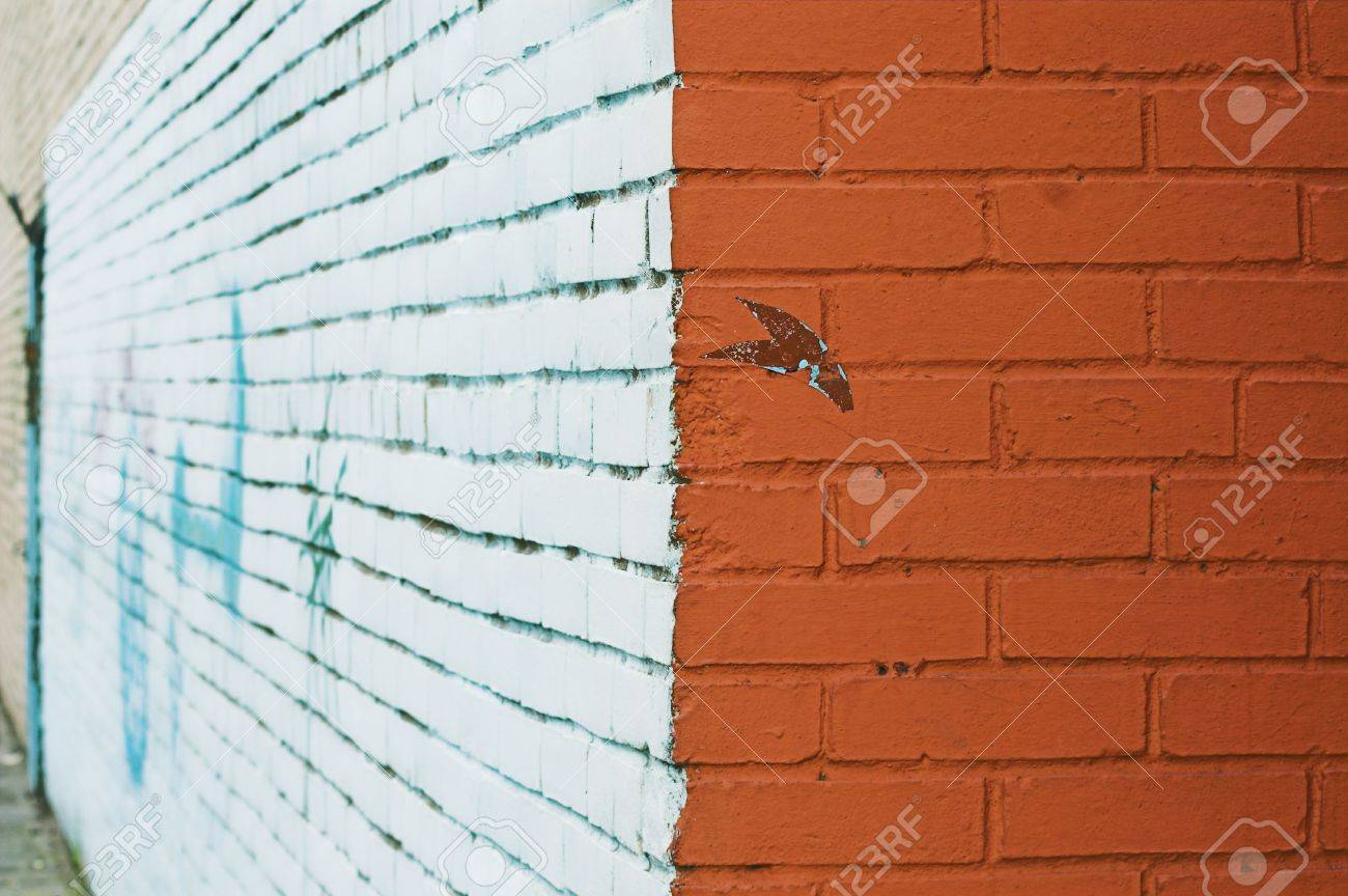 Close up view of corner and painted wall with graffiti stock photo 2818703
