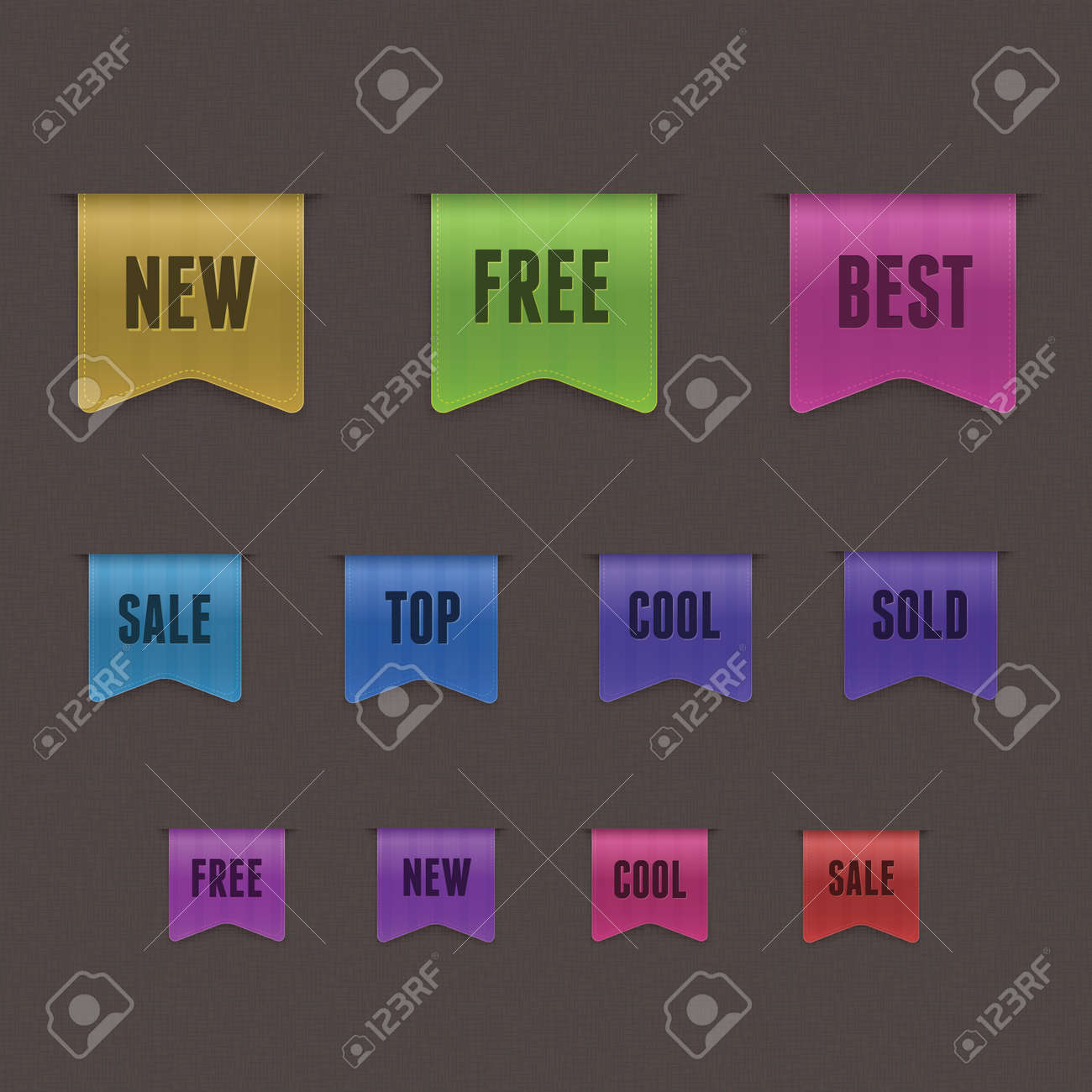 Set of 9 quality textured ribbons Stock Vector - 14230001