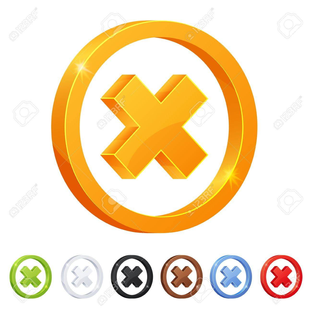 Set of 7 X mark symbol in different colors Stock Vector - 18343012