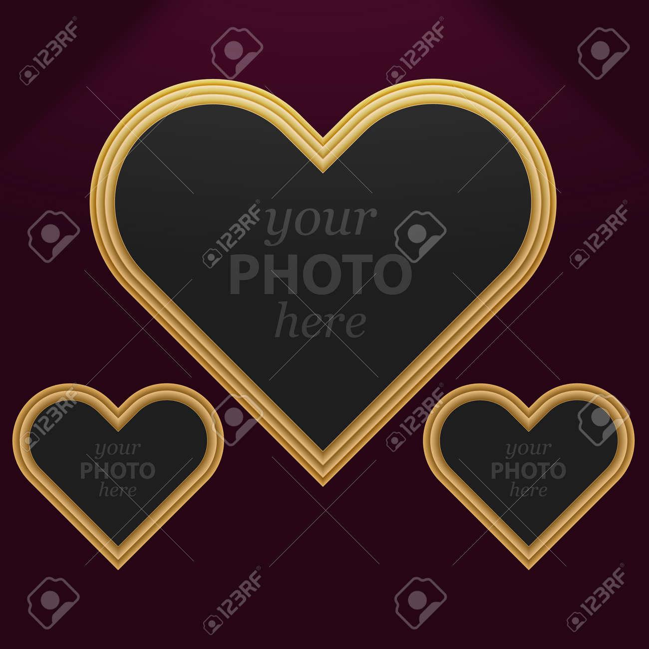 Conjunto De Marcos De Fotos 3 Del Corazón De Diferentes Tamaños ...