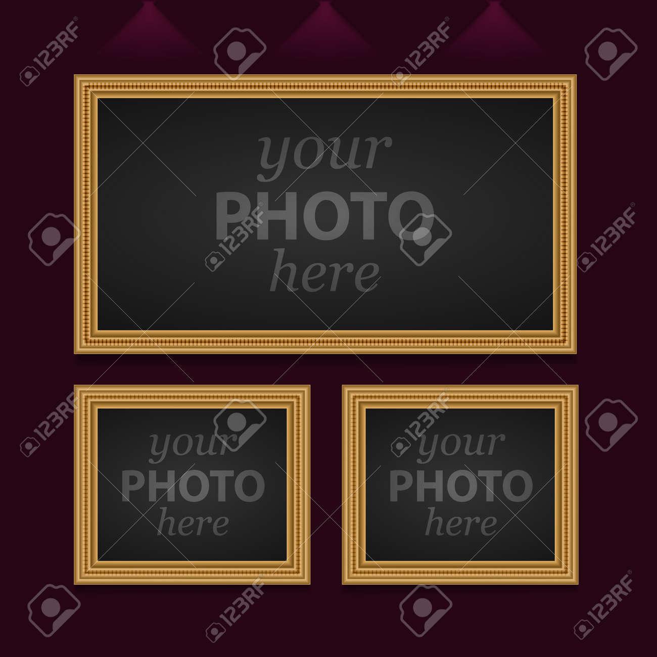 Juego De 3 Marcos De Fotos De Diferentes Tamaños. Imagen Del Vector ...