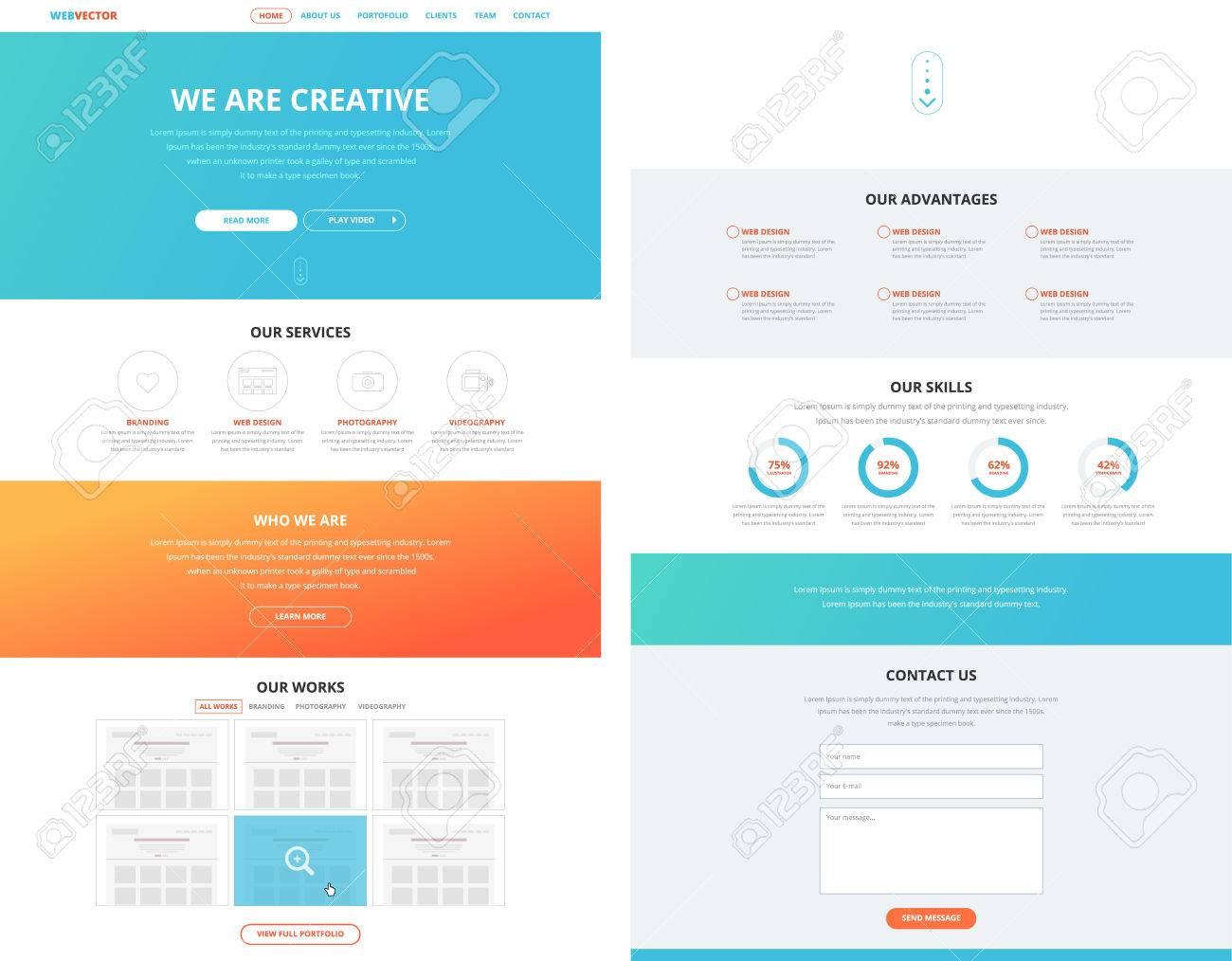 Eine Seite Website-Design-Vorlage Im Flachen Design-Stil Für Web ...