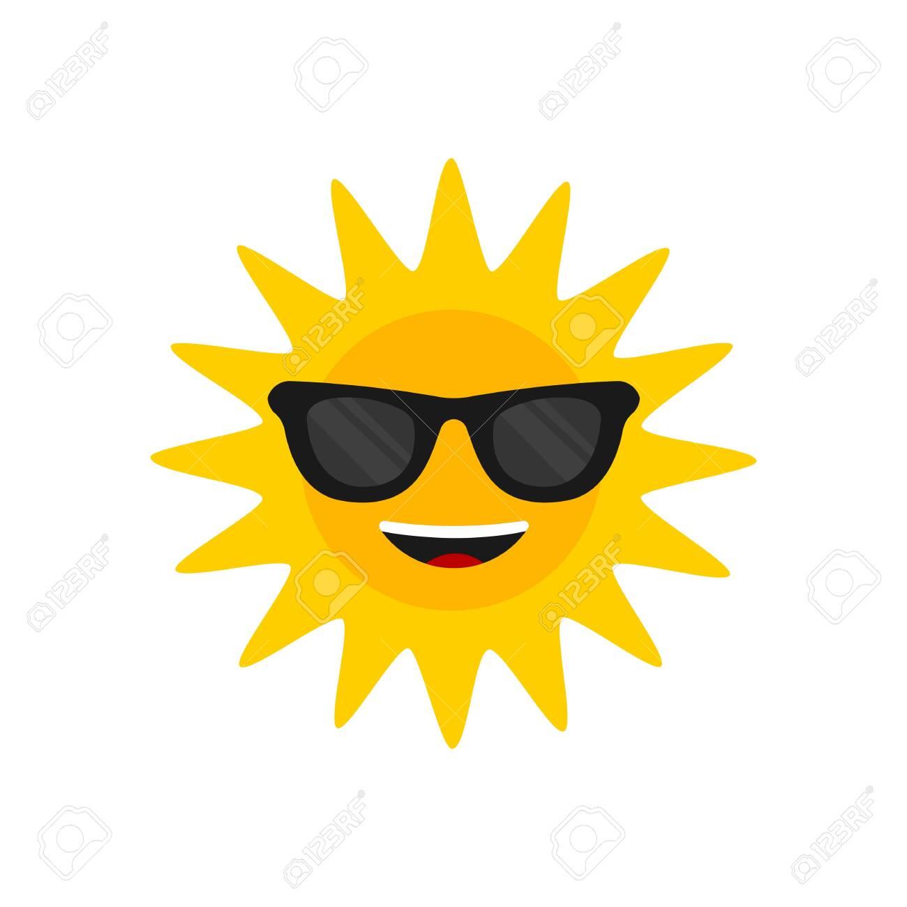 Sun with sunglasses. Cartoon smiling sun icon for weather design. Sunshine symbol happy orange isolated sun vector illustration - 157094102