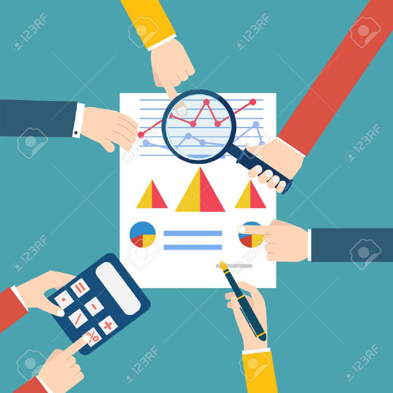 People examining economic statistic. Financial examiner. Vector illustration. - 41672977