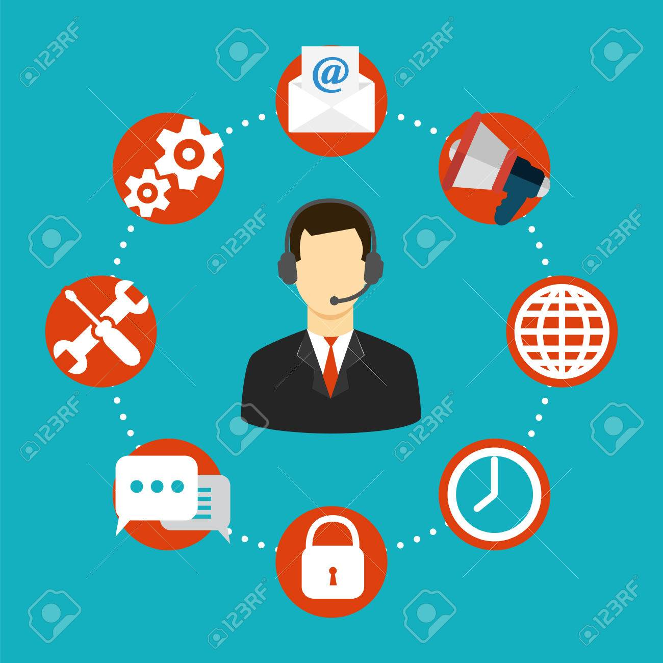 2dc4bd404f Icon in flat style support. Customer service icon Stock Vector - 42785823