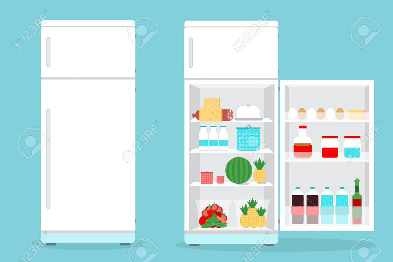 open refrigerator. refrigerator opened with food.fridge open and closed foods stock vector - 43457158 o