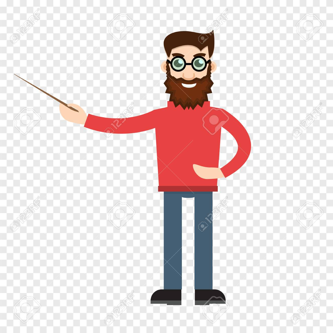 male teacher on transparent background royalty free cliparts