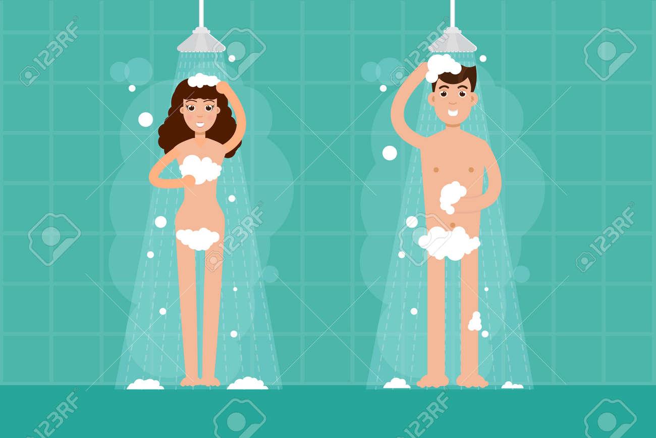 Homme Et Femme Douche Dans La Salle De Bain Illustration De