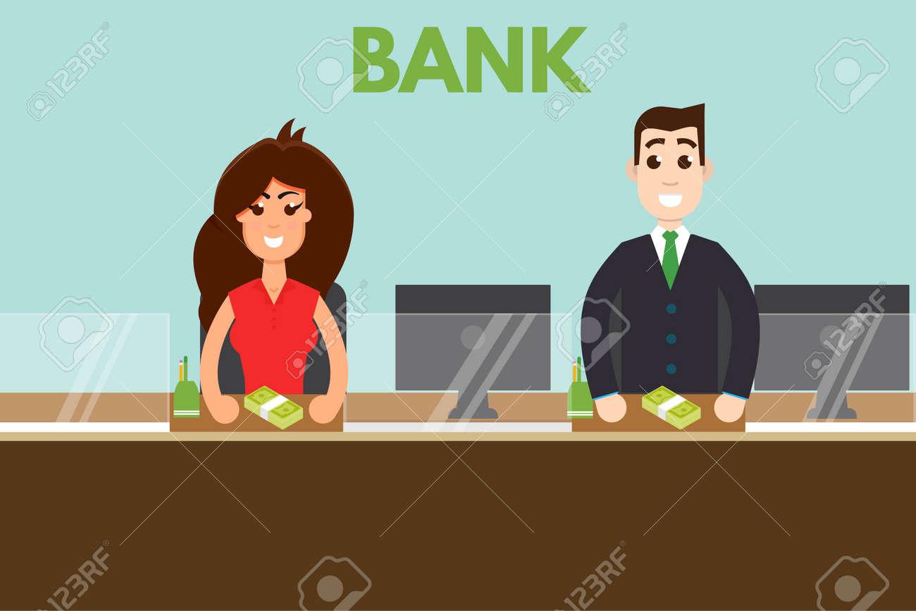 Bank teller or cashier behind window. Vector illustration. - 83823912