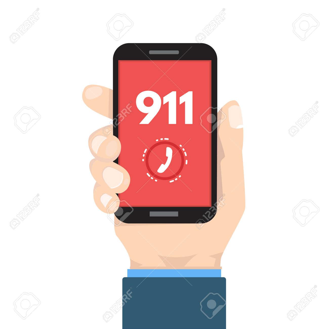 呼び出し、911 緊急電話は手で電...