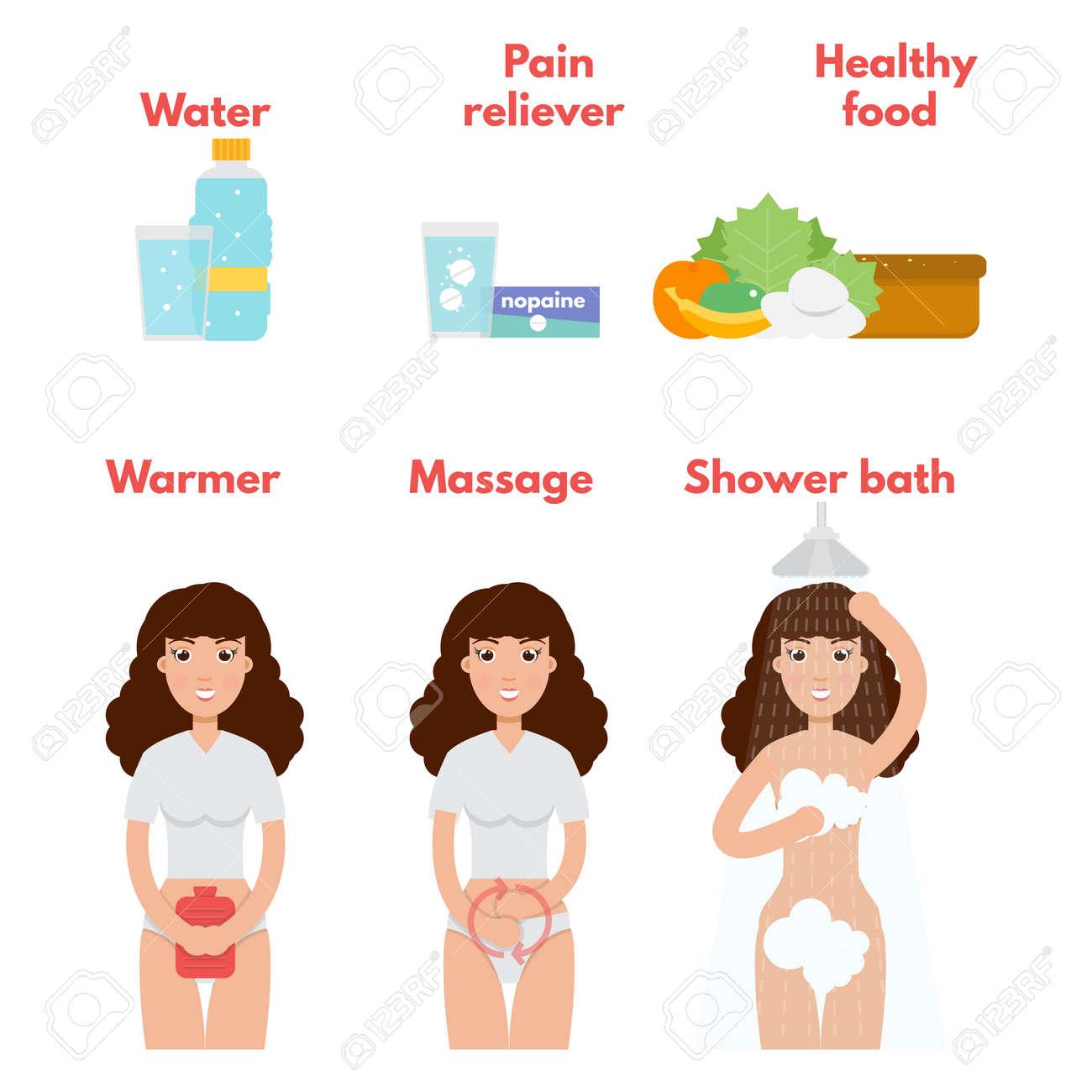 menstrual pain icons set. period treatment concept. vector