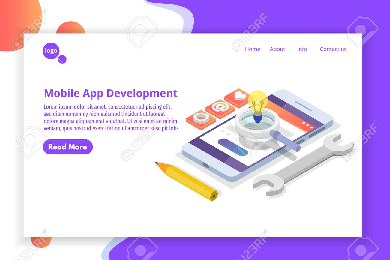 Mobile App Development isometric concept. Landing page template. Vector illustration. - 122160456
