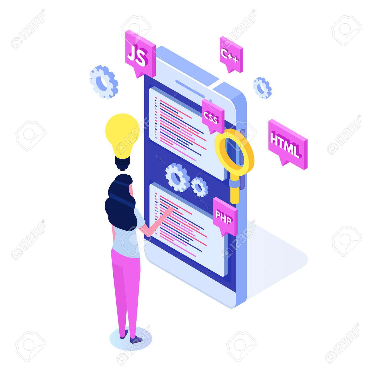 Programming Software or app development isometric concept, big