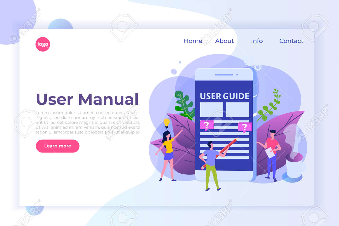 User Manual Flat Style Concept. People With Guide Instruction Are ...