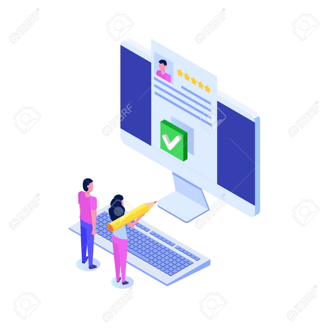 Voting online, e-voting, election internet system isometric concept. Vector illustration - 132290431