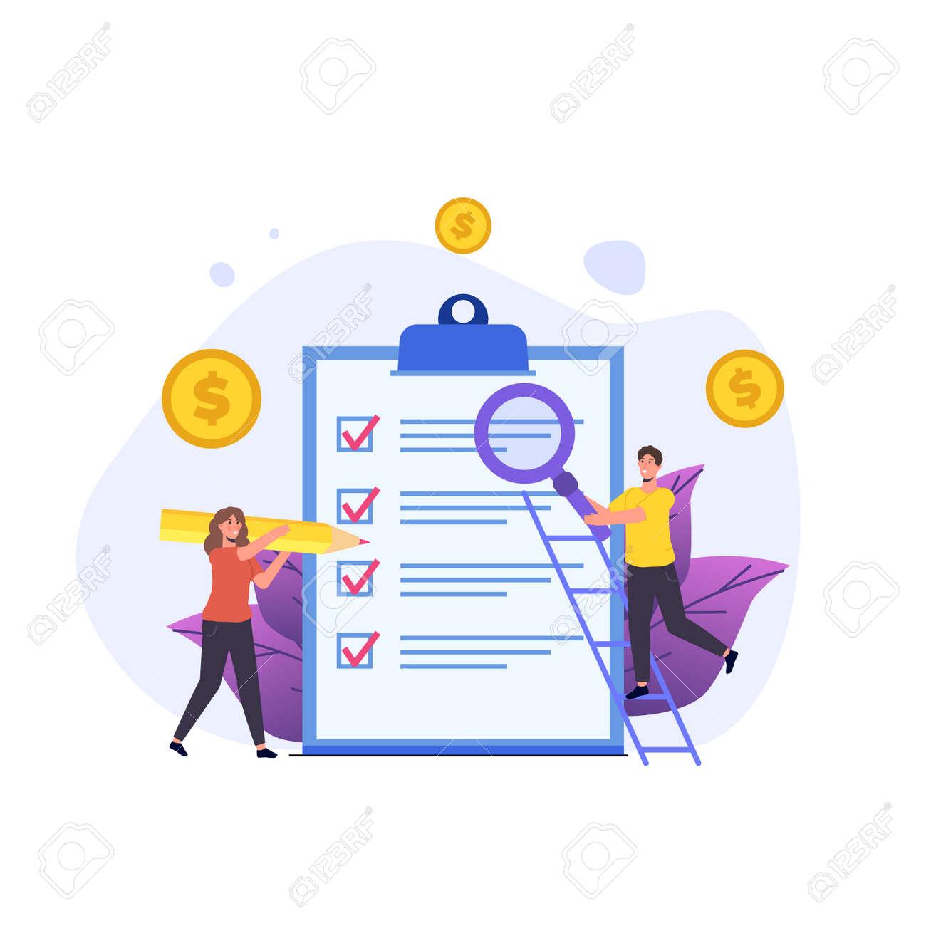 Budget planning, Balance financial, Retirement preparation, Calculating financial risk concept. Vector illustration. - 147812405