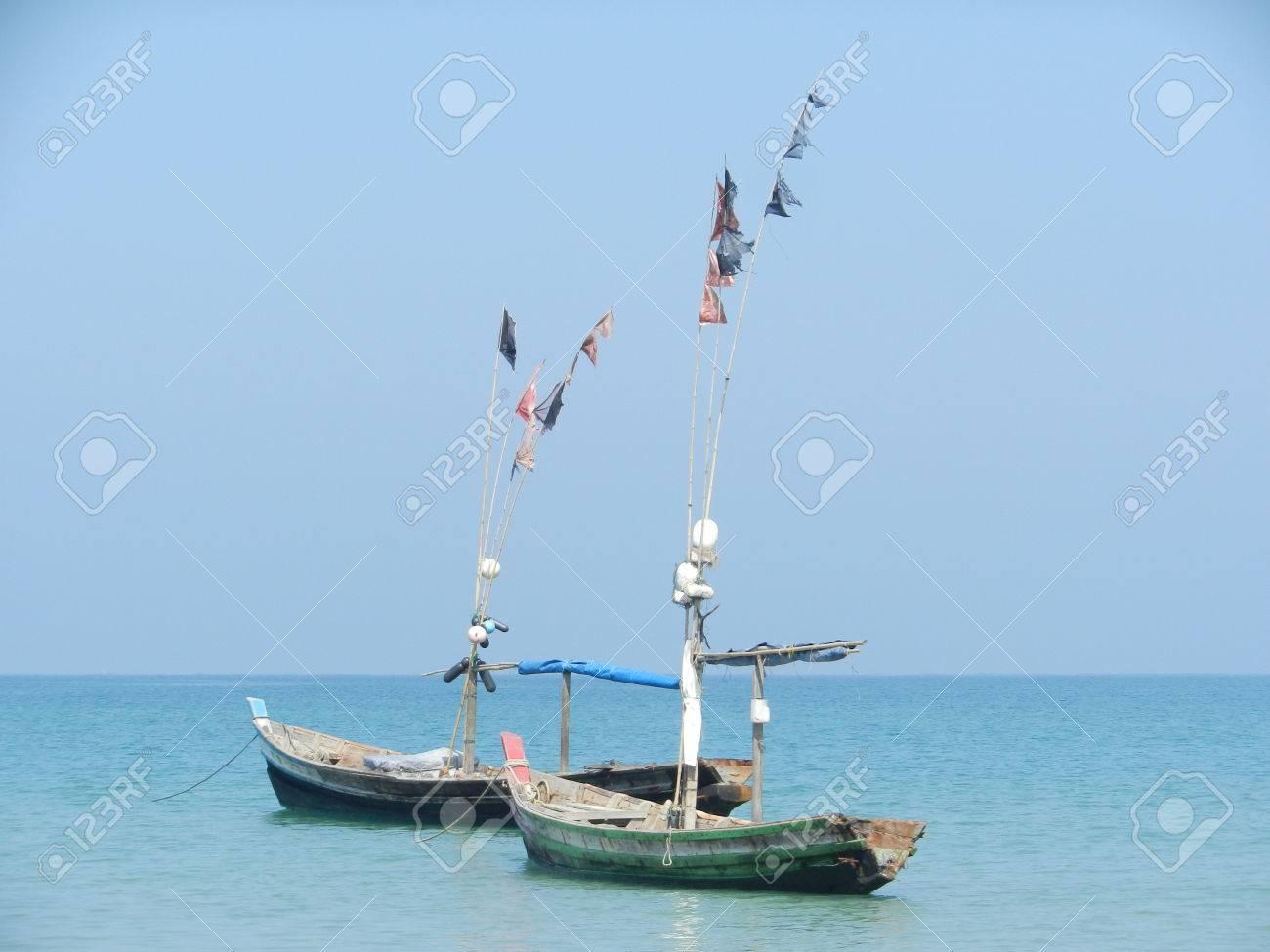 fishing boats in Ngapali Beach, Rakhine state, Myanmar