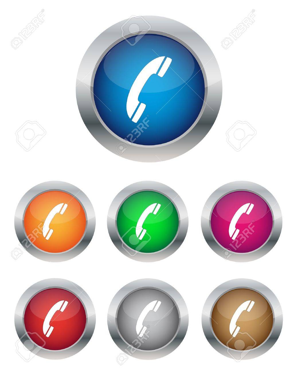 Collection of phone support buttons in various colors Stock Vector - 11497369