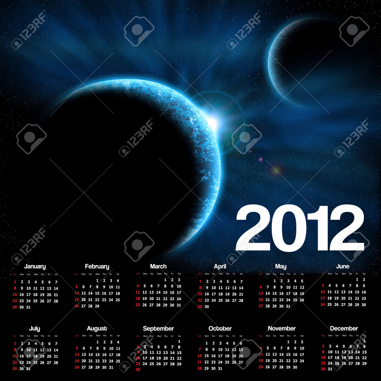 2012 calendar with space scene Stock Photo - 11656834
