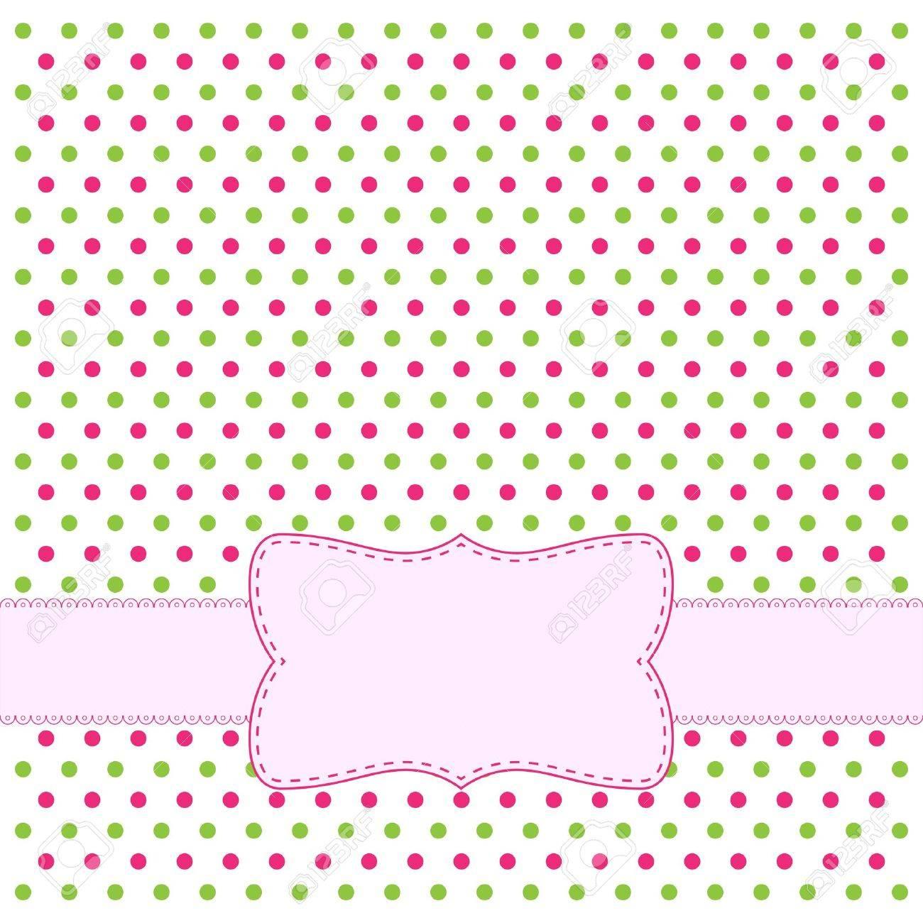 Polka dot design frame for invitation Stock Vector - 12483083