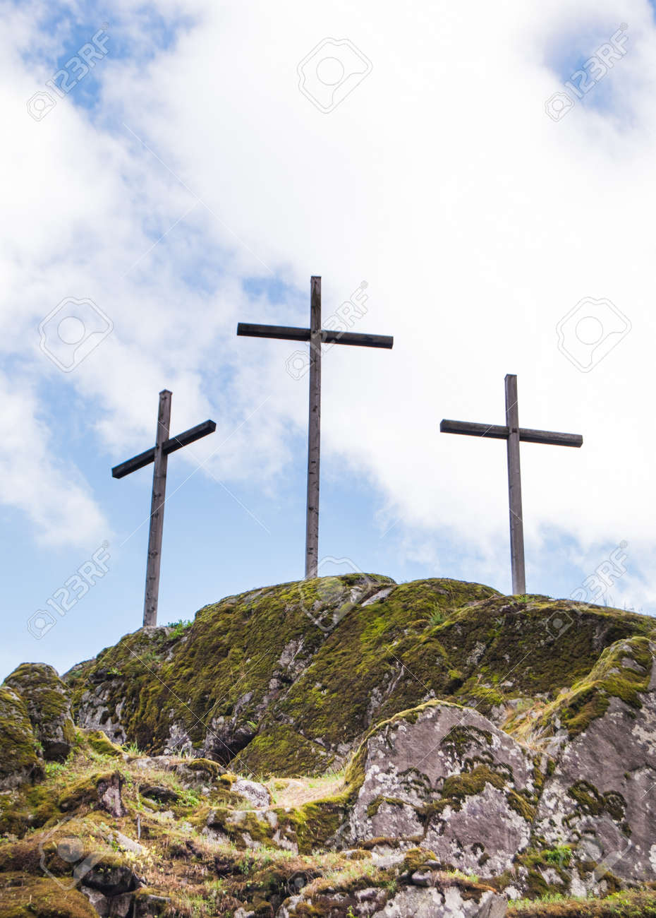 Crosses on the top of a mountain - 106970213