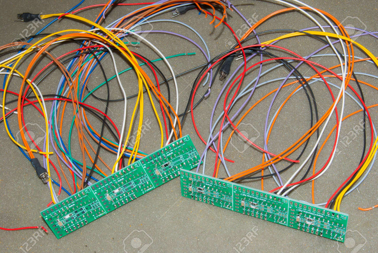 Little electronic circuits with a lot of colored electric cables
