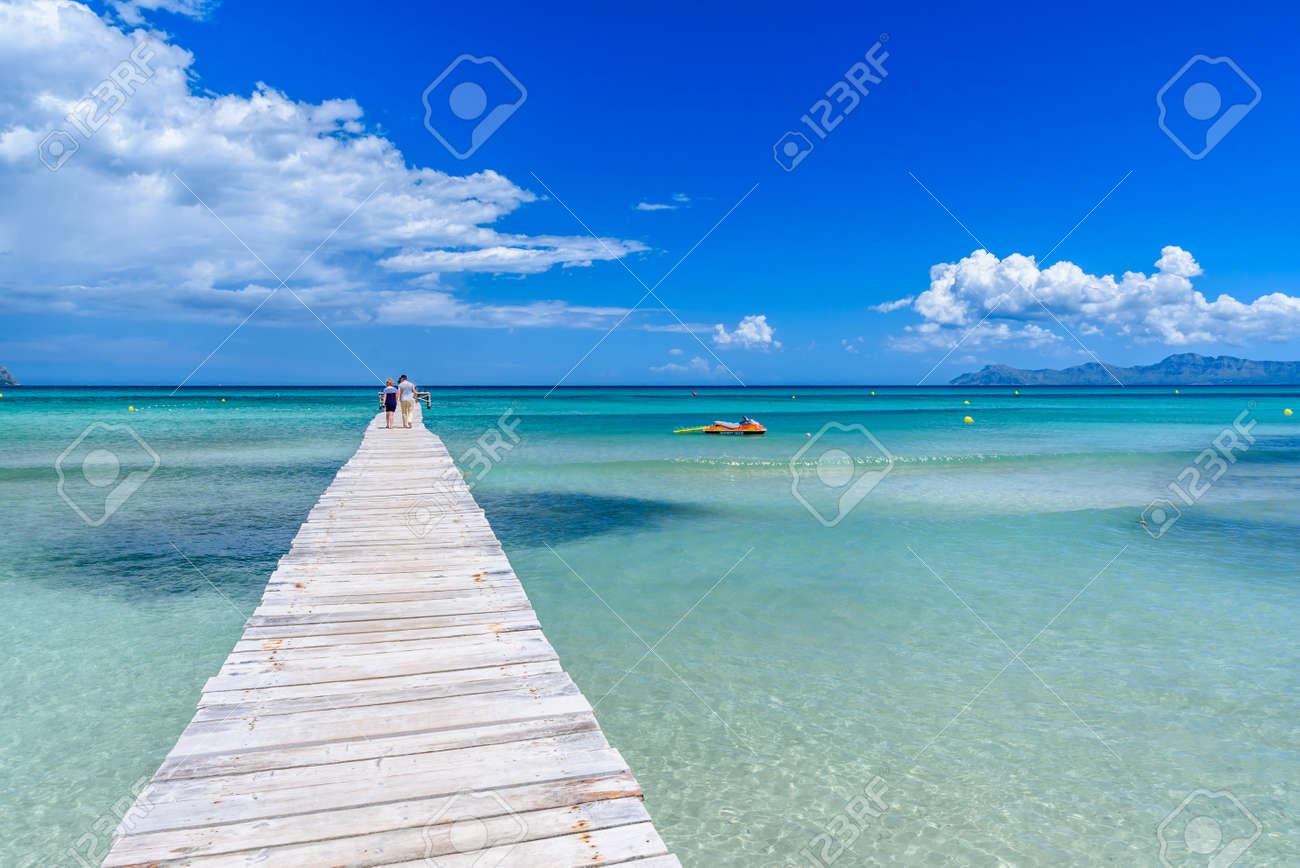 Pier at Playa Muro - Mallorca, balearic island of spain - 82810237